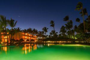 Swimming pool at tropical night